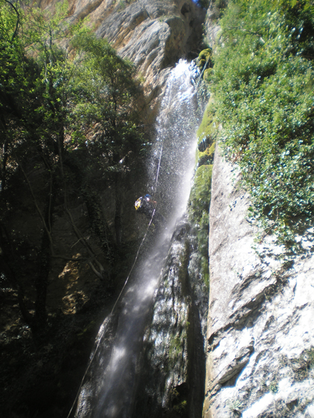 Discesa nella cascata