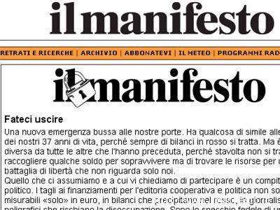 La pagina de Il Manifesto online dedicata alla campagna