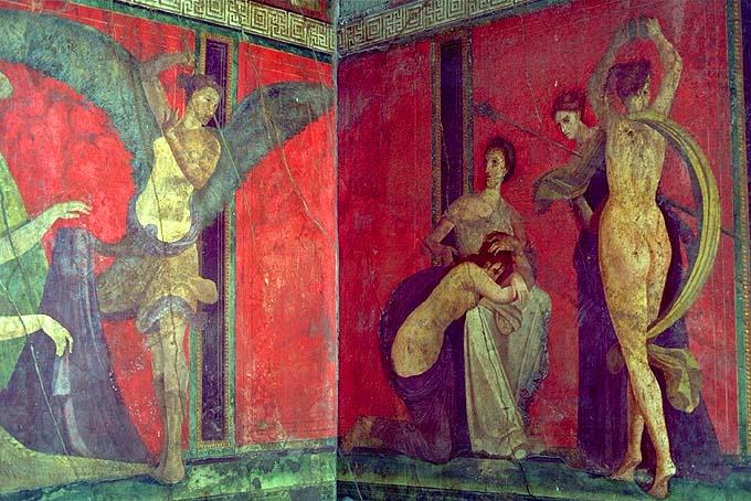 Un affresco della Villa dei Misteri di Pompei. Essi rappresentano il percorso iniziatico dei misteri dionisiaci