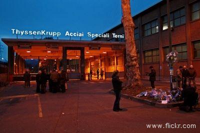 L'acciaieria ThyessenKrupp dove, nel dicembre 2007, un rogo ha tolto la vita a sette operai