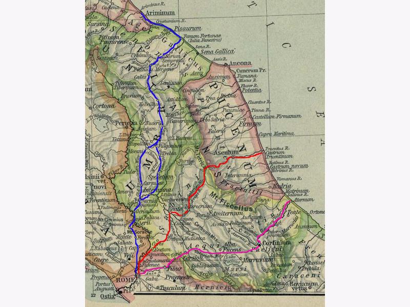 Il sistema viario dell'antica Roma di collegamento con il mar Adriatico. In rosso la via Salaria.
