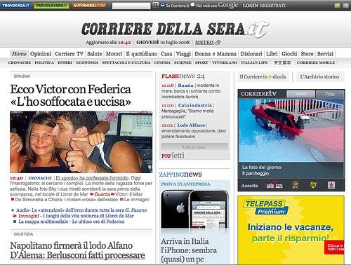 L'home page del Corriere della sera.it