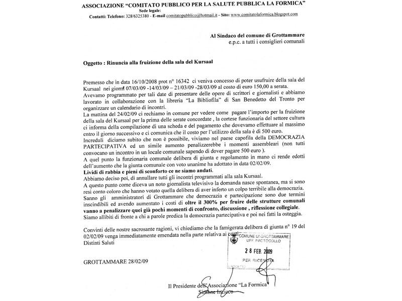 La lettera aperta protocollata in Comune