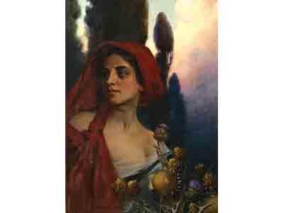 """""""Donna con il foulard rosso"""" di Adolfo De Carolis"""