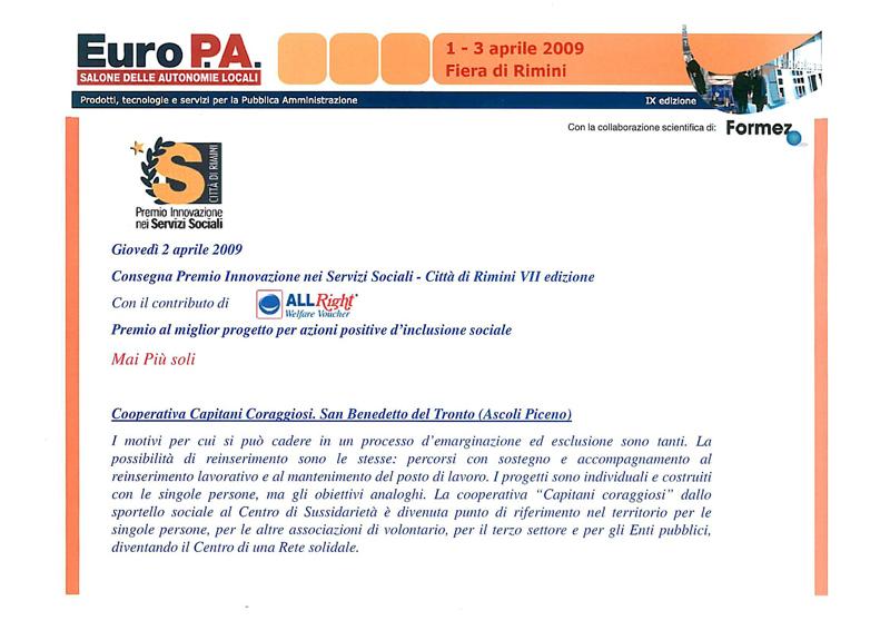 """Premio """"Innovazione nei servizi sociali - Città di Rimini"""""""