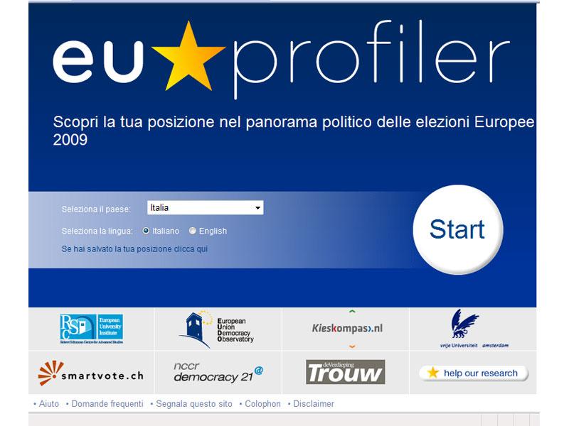 La home page di www.euprofiler.eu
