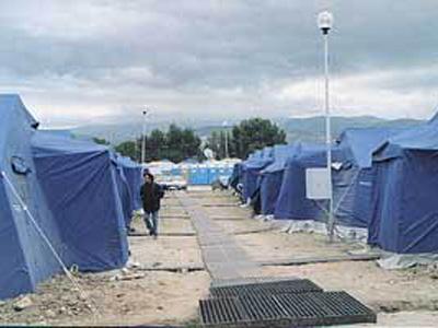 Un campo di accoglienza per terremotati