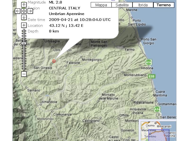 L'immagine Google maps dal sito del