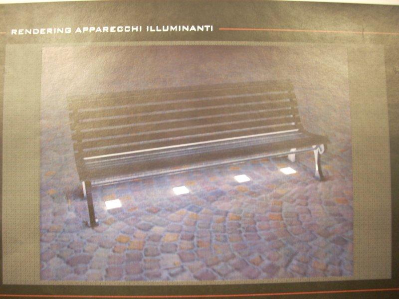 L'illuminazione a terra che potrebbe essere posta sotto le panchine di Piazza Matteotti