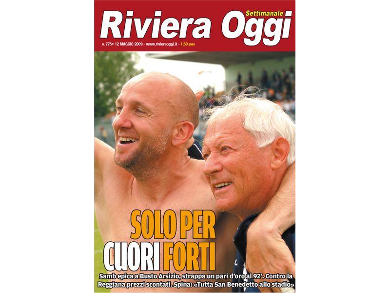 La copertina di Riviera Oggi 775 dedicata a Palladini e Rumignani, cuori rossoblu (foto Troiani)