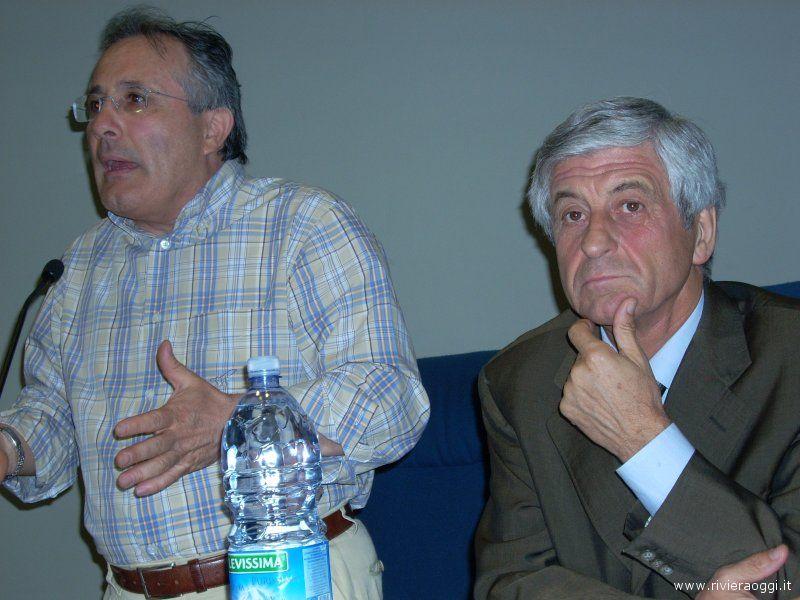 Amedeo Ciccanti con Gianni Rivera all'auditorium comunale di San Benedetto del Tronto