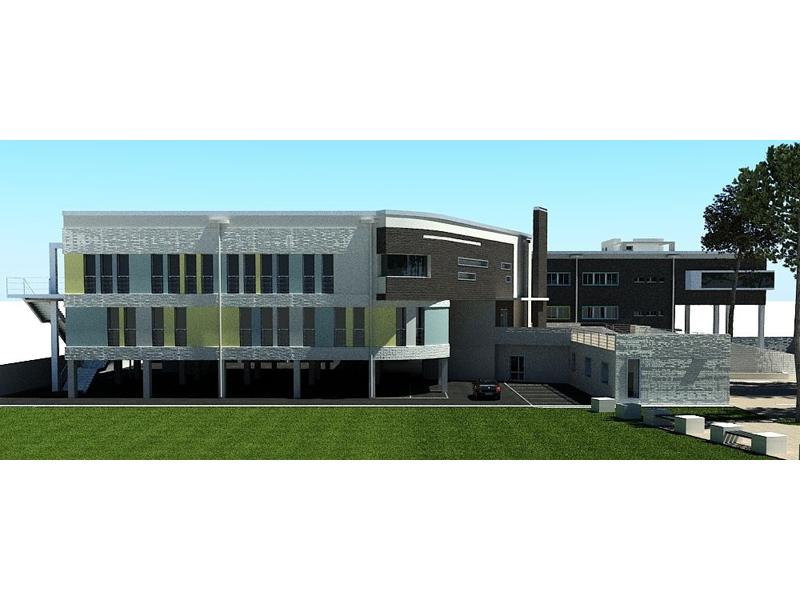 La prospettiva est del nuovo Palazzo del Lavoro in una elaborazione computerizzata