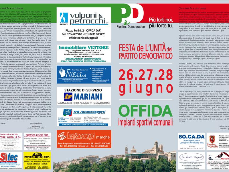 Locandina-invito della festa dell'Unità del Partito Democratico di Offida.