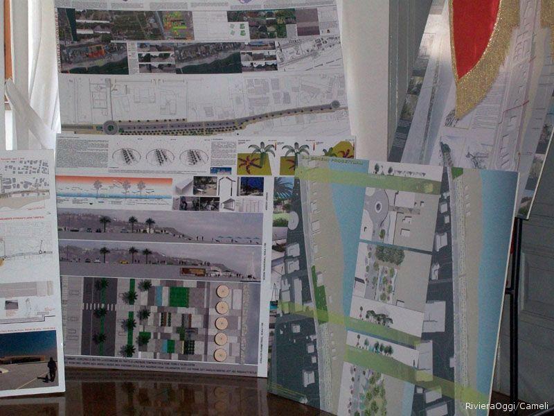 Alcune tavole dei progetti selezionati. I progetti verranno esposti in piazza Kursaal