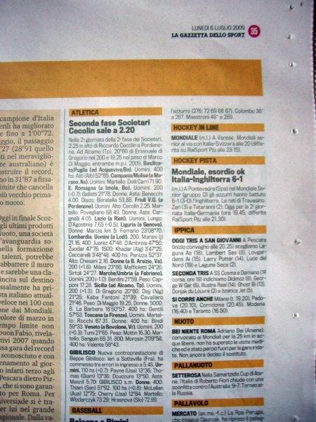 Gazzetta del 6 luglio: nessun cenno sul Mondiale di Motonautica