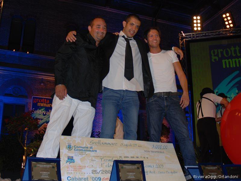 Da sinistra Spoto, secondo classificato, De CArlo, primo classificato, e Taroppi terzo classificato