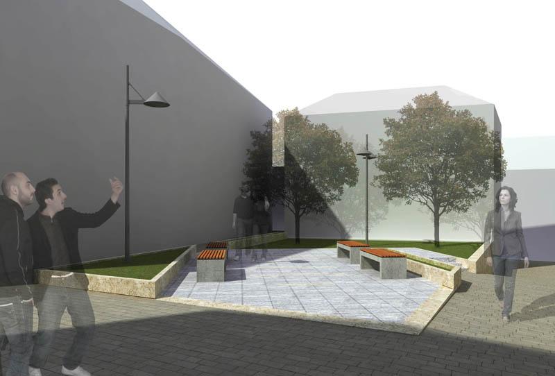 Una prospettiva computerizzata di uno scorcio del progetto di centro commerciale naturale