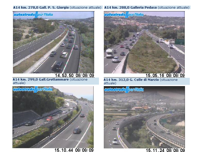 Allerta traffico sulla A14, incidente, immagini in diretta Autostrade.it