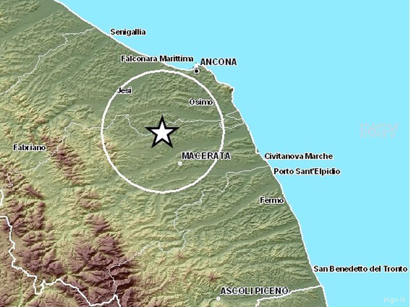 La localizzazione del terremoto delle ore 5,50 del 20 settembre, fra i comuni di Montefano e Santa Maria Nuova, in provincia di Macerata