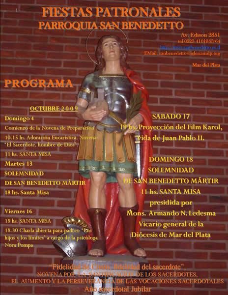 Programma della festa di San Benedetto Martire a Mar del Plata