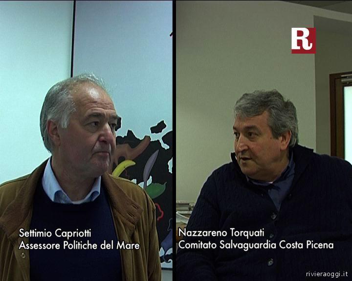 Settimio Capriotti e Nazzareno Torquati si guardano un poco in cagnesco nel fotogramma del nostro video: di mezzo c'è la cassa di colmata della discordia