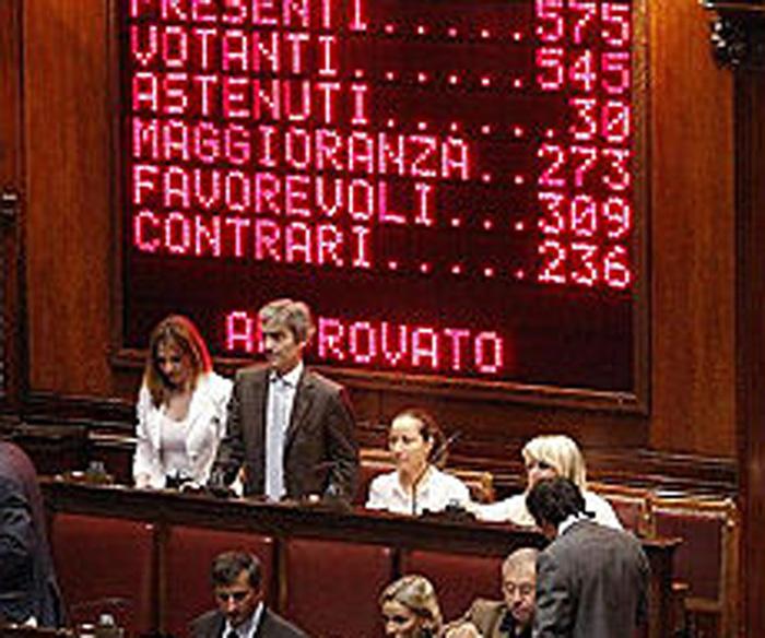 L'aula di Montecitorio durante una votazione