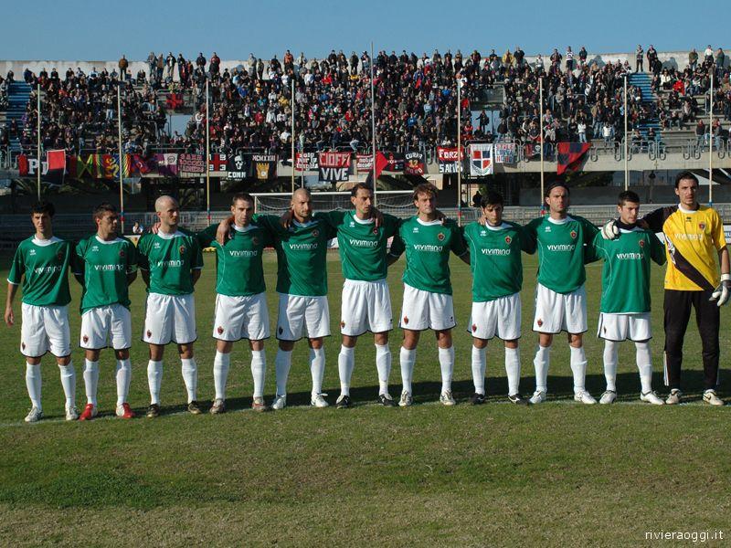 La formazione rossoblu (ma in maglia verde) scesa in campo contro il Montegiorgio