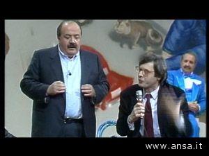 Maurizio Costanzo con Vittorio Sgarbi