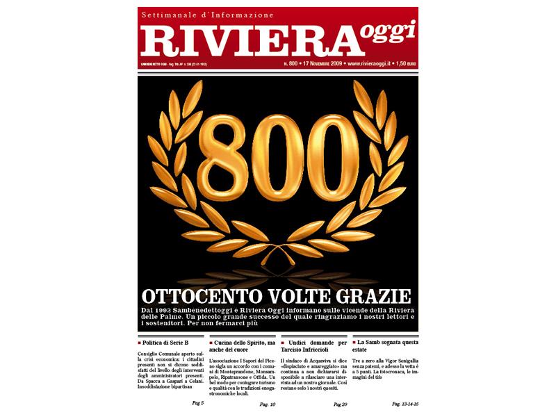 La copertina di Riviera Oggi numero 800
