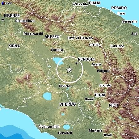 L'epicentro del sisma di martedì 15 dicembre 2009 (dal sito dell'INGV)