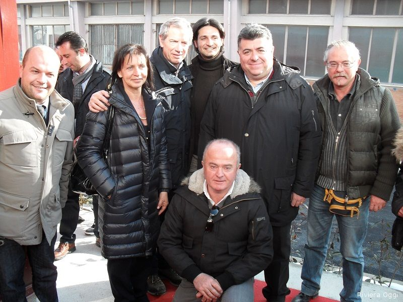 Guido Bertolaso con Giustino Di Emidio, Emidio Damiani, Giampiero Perozzi ed altri imprenditori che hanno partecipato alla ricostruzione post sisma