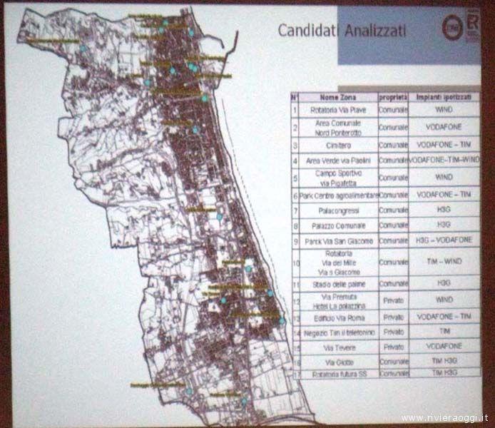 Mappa dei siti candidati  all'installazione di antenne