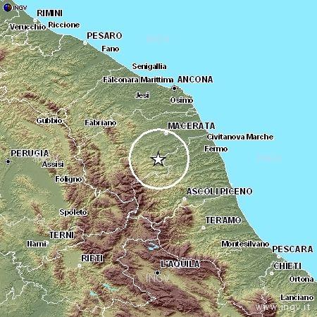 L'epicentro della scossa di domenica 10 gennaio 2010 alle ore 9.33