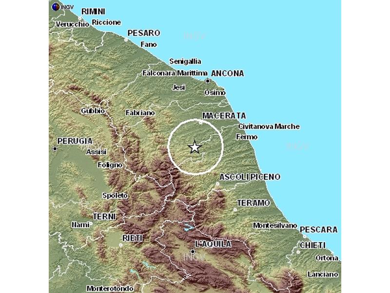 Nella mappa, il punto dove si sono verificate le scosse di martedì 12 gennaio