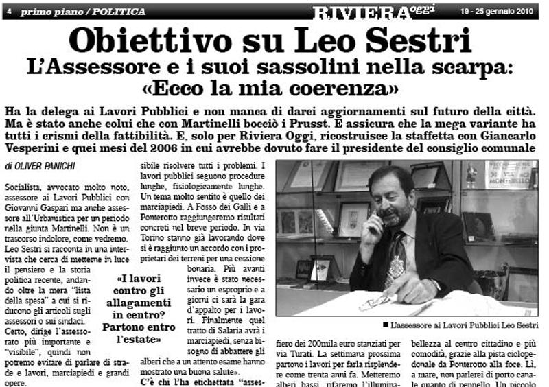 Riviera Oggi numero 807, titolo e sommario dell'intervista esclusiva a Leo Sestri