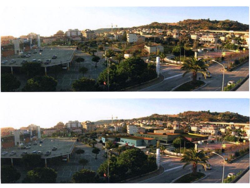 La zona dove verrà costruito il polo scolastico, come è ora nella foto sopra e un rendering nella foto sotto