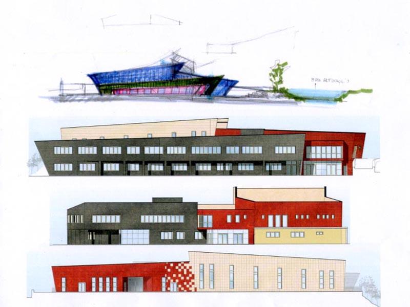 Il bozzetto da cui si è partiti e il progetto del polo scolastico, con le divisioni dei tre ambienti scolastici