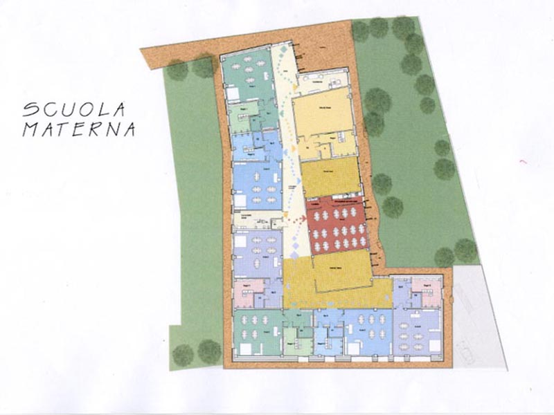 Il progetto della scuola dell'infanzia, le stanze e le loro peculiarità sono diversificate nei colori