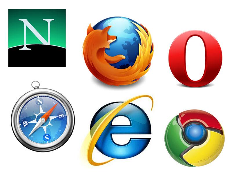 Le icone dei maggiori browser degli ultimi 15 anni: Netscape, Firefox, Opera, Safari, Internet Explorer, Google Chrome