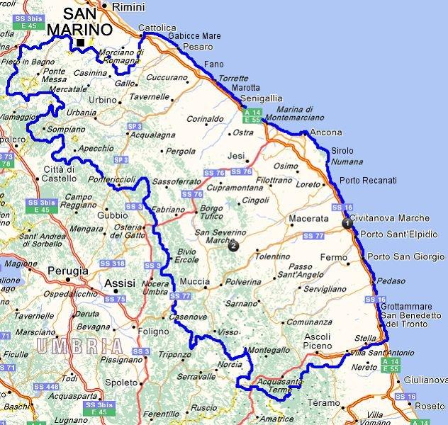 La cartina delle Marche