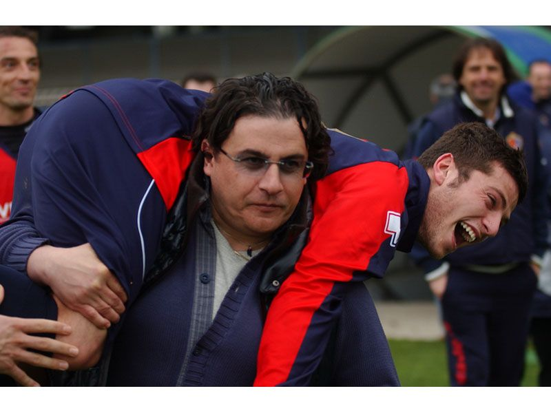 Spina scherza con D'Angelo al termine della gara contro la Vis