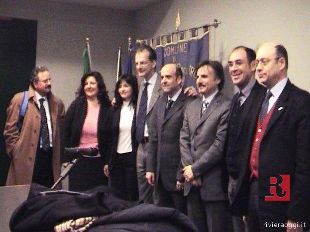 Da sinistra Dante Merlonghi, Palma Del Zompo, Cinzia Peroni, Donadi, Edo Fanini, Piergiorgio Butteri, Sandro Donati, Cardilli
