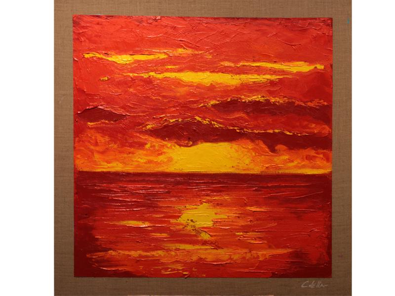 Un'opera di Francesco Colella su tela di juta