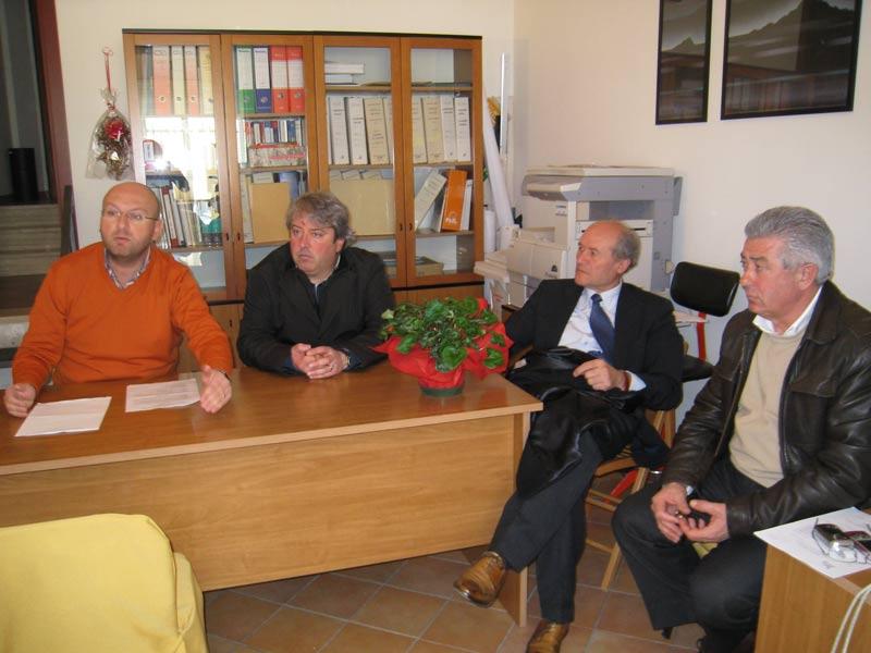 Emiliano Di Matteo, Renato Rasicci, Elicio Romandini e Alberto Pompizi nel corso della conferenza stampa sulla Sanità in Val Vibrata