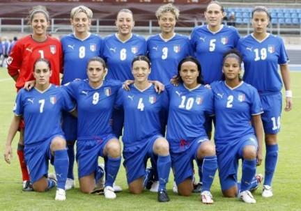 La nazionale di calcio femminile durante gli europei 2009
