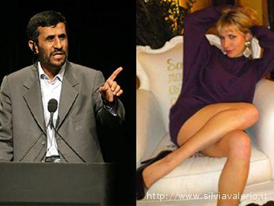 A sinistra Mahmud Ahmadinejad presidente dell'Iran. Alla destra Silvia Valerio ( solo la foto della ragazza è stata estrapolata dal sito www.silviavalerio.it )