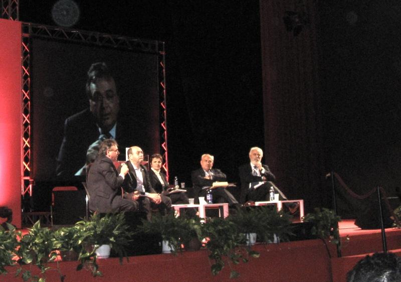 Da sinistra Alberto Civica, Domenico Pantaleo, Anna Villari, Mimmo Carrieri e Francesco Scrima