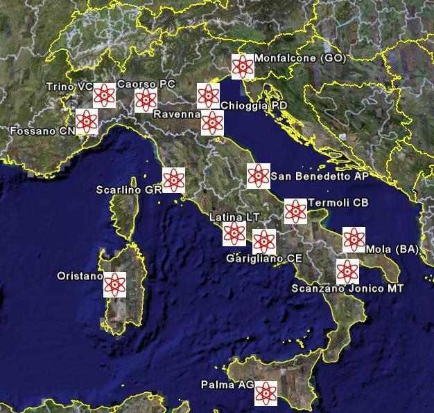 La mappa dei siti secondo le rivelazioni dei Verdi
