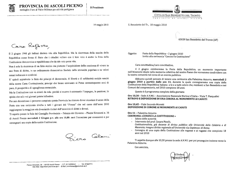 Le due lettere inviate da Provincia di Ascoli e Comune di San Benedetto