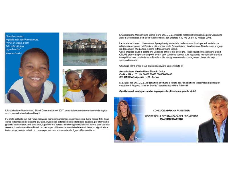 All'Attico sul Mare sabato 22 maggio dalle 20 e 30 si tiene una serata di raccolta fondi per le favelas del Brasile